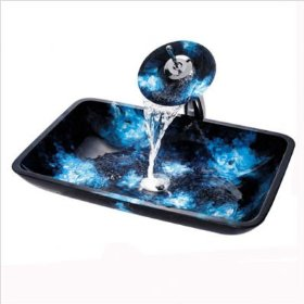 Boulder Opal Rectangular Glass Vessel Sink with Waterfall Faucet Faucet Finish