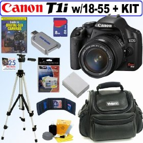 Canon EOS Rebel T1i 15.1 MP CmoS Digital SLR Camera with EF-S 18-55mm f/3.5-5.6 IS Lens + 8GB Deluxe Accessory Kit