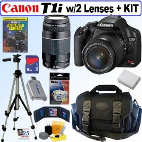 Canon EOS Rebel T1i - Digital camera - SLR - 15.1 Mpix - Canon EF-S 18-55mm IS and EF 75-300mm lenses - optical zoom: 3 x - supported memory