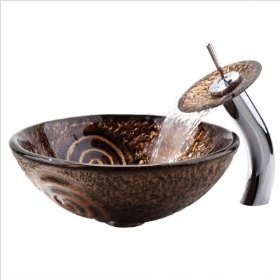 Copper Luna Glass Vessel Sink and Waterfall Faucet Faucet Finish