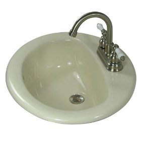 Self Rimming Bone 3 Hole Drop-In Round Porcelain Bathroom Sink