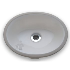 Small Oval Undermount Porcelain Sink - White