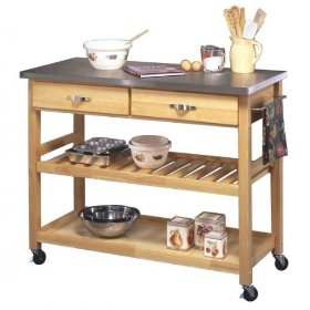 Home Styles Furniture Stainless Steel Kitchen Cart in Natural Finish: Furniture & Decor