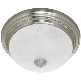 Hunter Fan Fan Ashbury 81001 Bathroom Fan, Brushed Nickel with Beaded Detail and Swirled Marble Glass: Home Improvement