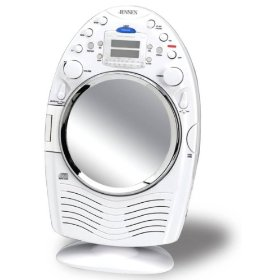 Jensen JCR-540 AM/FM Stereo Shower Radio and CD Player with Fog Resistant Mirror (White): Electronics