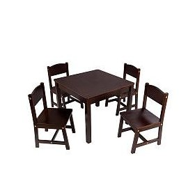KidKraft Farmhouse Table and Chair Set Espresso: Toys & Games