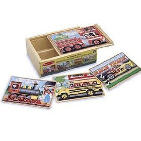 Melissa & Doug Deluxe Vehicles in a Box Jigsaw Puzzles: Toys & Games