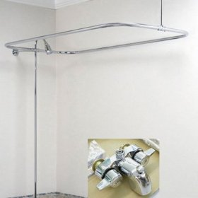 New Add On Shower for Clawfoot Tub includes Rectangular Shower Rod: Home Improvement