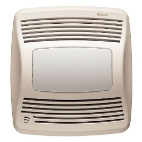 Broan Model QTXE110SFLT 110 CFM Ultra Silent Humidity Sensing Fan/Light, White Grille: Home Improvement