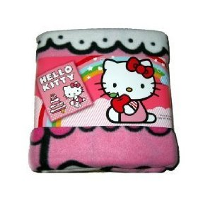 Sanrio Hello Kitty Birthday Cake Plush Throw Pink Large Fleece Bed Blanket: Toys & Games