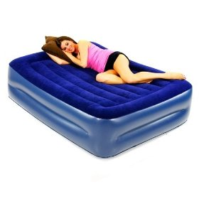 Smart Air Beds Deluxe Flock Top Raised Full Size Overnighter Air Bed with Built-In Pillow: Sports & Outdoors
