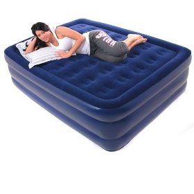 Smart Air Beds Queen Raised Deluxe Flock Top Air Bed, Blue: Sports & Outdoors